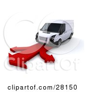 Clipart Illustration Of A White Delivery Van Driving On A Red Arrow Road That Branches In Three Directions