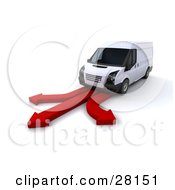 Clipart Illustration Of A White Delivery Van Traveling Down A Road Made Of Three Red Arrows