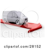 Clipart Illustration Of A White Delivery Van Driving On A Red Arrow Road