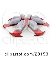 Clipart Illustration Of A Fleet Of White Delivery Vans In A Circle Each Prepared To Take Its Own Route On Arrow Roads