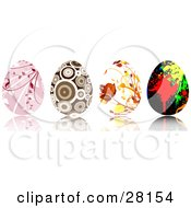 Set Of Four Pink Brown Floral And Paint Splatter Easter Eggs With Intricate Designs
