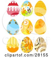 Set Of Nine Red Orange Brown Floral And Intricate Easter Eggs