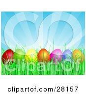 Row Of Red Green Yellow Orange Pink And Blue Easter Eggs Resting In Green Grass Under A Bursting Blue Sky