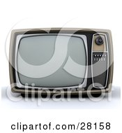 Clipart Illustration Of A Vintage Box TV With A Control Panel On The Side