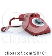 Clipart Illustration Of A Red Rotary Landline Desk Phone by KJ Pargeter