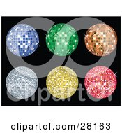 Set Of Six Blue Green Orange Yellow And Pink Disco Balls Sparkling Over Black