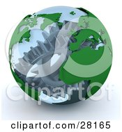 Clipart Illustration Of Silver Cogs And Gears Working Inside A Transparent Earth Globe by KJ Pargeter