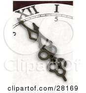 Clipart Illustration Of Clock Arms And Hands Pointing To A Few Minutes Before Midnight On New Years Eve by KJ Pargeter
