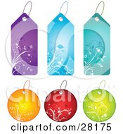 Clipart Illustration Of A Group Of Six Circle And Tall Purple Blue Teal Orange Red And Green Floral Tags