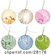 Group Of Six Beige Brown Pink Green And Blue Circular Floral Tags