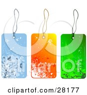 Group Of Three Blue Orange And Green Floral Grunge Sales Or Gift Tags