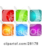 Group Of Six Red Green Blue Orange And Purple Square Floral Tags
