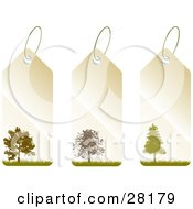 Group Of Three Beige And Green Tags With Trees And Grass