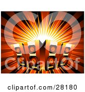 Clipart Illustration Of Four Music Speakers Over A Bursting Background With Black And Red Light by KJ Pargeter