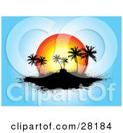 Clipart Illustration Of A Grunge Tropical Background Of Silhouetted Palm Trees On A Black Island In Front Of A Sunset Over Blue