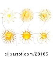 Clipart Illustration Of A Set Of Six Bright Yellow And Orange Suns With Rays