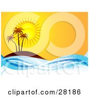 Clipart Illustration Of Three Silhouetted Palm Trees On An Island At Sunset With Sparkling Blue Waves