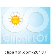 Clipart Illustration Of A Bright Summer Sun Casting Rays Of Light In A Blue Sky