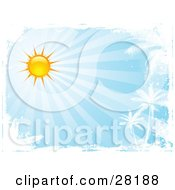 Clipart Illustration Of A Bright Sun In A Blue Sky With Rays Of Light Shining Down On White Silhouetted Palm Trees Bordered By White Grunge