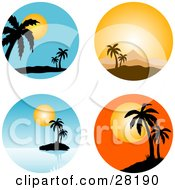 Set Of Four Circular Tropical Scenes Of Palm Trees At Sunset