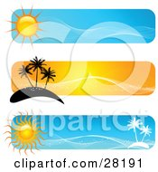 Set Of Three Blue And Orange Travel Website Banners With Suns Palm Trees And Islands