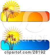 Clipart Illustration Of A Set Of Two Blue And Orange Tropical Sunset Website Banners Or Headers With Palm Trees