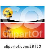 Clipart Illustration Of A Set Of Two Blue And Orange Tropical Sunset Website Banners Or Headers