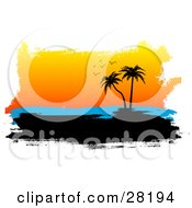 Clipart Illustration Of A Silhouetted Tropical Island With Palm Trees Blue Sea And Orange Sunset Sky With Seagulls