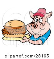 Male Pig In A Red Hat And Blue Shirt Holding A Giant Pulled Pork Sandwich