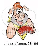 Clipart Illustration Of A Pig With A Beard Wearing A Bib And Chowing Down On Ribs by LaffToon
