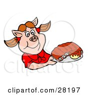 Clipart Illustration Of A Pig Girl In A Red Shirt Holding A Tray Of BBQ Ribs