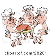Three Chef Pigs In Hats And Aprons Carrying A Platter Of Pork Ribs