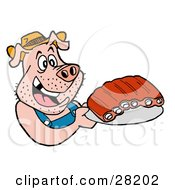 Clipart Illustration of a Hillbilly Pig In Overalls, Eating Ribs by LaffToon #COLLC28202-0065