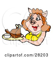 Pig Woman In A Yellow Shirt Carrying A Cooked Turkey Or Chicken On A Platter