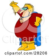 Chubby Cacuasian Super Hero Man In A Blue Cape Red Costume And Golden Gloves