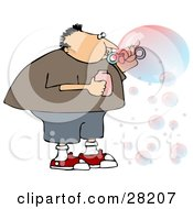 Clipart Illustration Of A Chubby Caucasian Boy Or Man Blowing Transparent And Colorful Bubbles