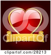 Clipart Illustration Of A Shiny Red Heart Framed In Gold With A Blank Gold Banner Over A Red Background by elaineitalia