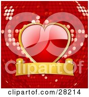 Shiny Red Heart With A Gold Frame Attached To A Gold Banner Over A Red Disco Ball Background by elaineitalia
