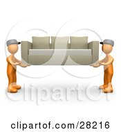 Poster, Art Print Of Two Orange Male Figures Lifting And Carrying Away A Tan Couch While Moving Or Delivering