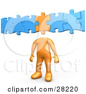 Orange Person With A Puzzle Piece As A Head Connected To Blue Pieces