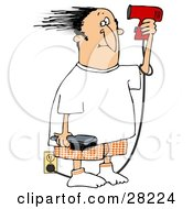 Clipart Illustration Of A Man Standing By An Electrical Outlet Holding A Brush And Blow Drying His Hair