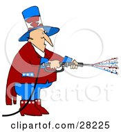 Clipart Illustration Of Uncle Sam In Red White And Blue Using A Power Washer And Spraying Out Stars On Tax Day Or The Fourth Of July