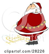 Clipart Illustration Of Santa Writing Bah Humbug Text With His Yellow Urine In The Snow