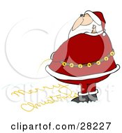 Clipart Illustration Of Santa Looking Over His Shoulder While Writing Merry Christmas In The Snow With His Yellow Pee