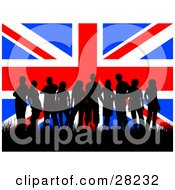Clipart Illustration Of A Group Of British Teenagers Silhouetted And Standing In Grass Against A Background Of The Union Jack Flag by KJ Pargeter