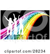 Clipart Illustration Of Three White Silhouetted People Dancing On A Sparkly Rainbow Over A Black Background