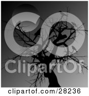 Clipart Illustration Of Crows Perched On A Silhouetted Tree In The Moonlight On A Dark Night