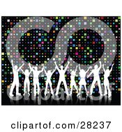 Clipart Illustration Of Nine White Silhouetted Dancers With Their Arms In The Air Over A Colorful Square Disco Background