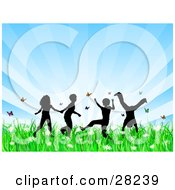 Clipart Illustration Of Four Silhouetted Children Running Holding Hands And Doing Somersaults In A Field Of Butterflies And Spring Flowers Over A Bursting Blue Background