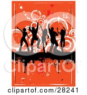 Clipart Illustration Of A Group Of Silhouetted Adults Dancing And Partying On A Black Dripping Grunge Bar Over An Orange Background With White Circles